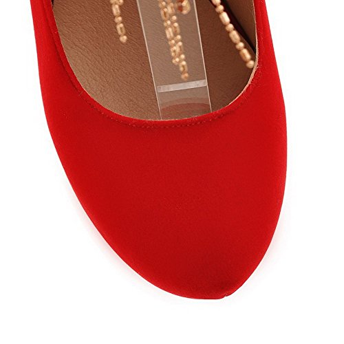 AllhqFashion Mujer Hebilla Tacón Alto Esmerilado PU Puntera Redonda ZapatosdeTacón Rojo