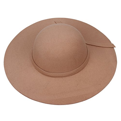 Smile YKK Women Vintage Soft Wide Large Brim Faux Wool Felt Hat Camel