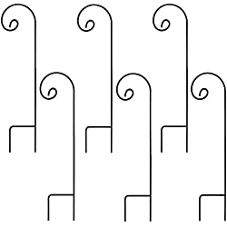 Ashman Shepherd's Hooks, Black, Set of 6 Made of Premium Metal for Hanging Solar Lights, Bird Feeders, Mason Jars, Plant Hangers, Flower Basket, Christmas Lights, Lanterns, Garden Stakes and Weddings