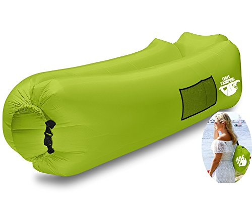 Inflatable Lounger by Legit Camping with Carrying Bag & Pockets for Indoors/Outdoors  Inflatable Couch & Air Chair with Headrest & Securing Stake- For Camping Beach or Pool (Lime Green)
