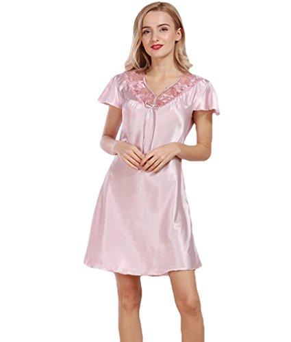 WanYang Mujer Las Señoras Pijamas De Seda Manga Corta De Cintura Delgada Camisón Gris Pálido Rosa
