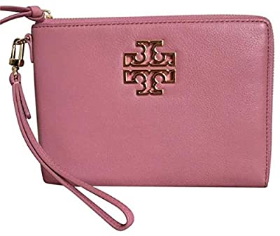 Tory Burch Britten Large Zippered Pouch Pebbled Leather Pink Magnolia