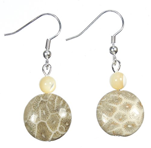 Style-ARThouse Ancient Sea Fossilized Coral Reef Beige Earrings, 1.5 Inches