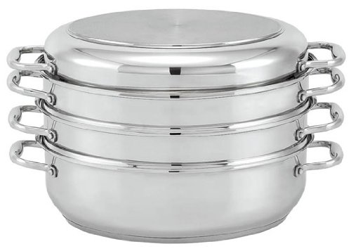 Beka Cookware Oval Stainless Steel Roaster/Steamer Set with Lid, 15-Inch