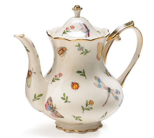 (Porcelain Butterfly & Dragonfly Teapot Trimmed In Gold)