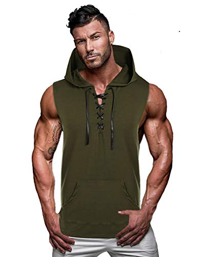COOFANDY Mens Casual Hipster Hip Hop Sleeveless Lace-up Tank Hooded with Pockets, Deep Green, Medium ()