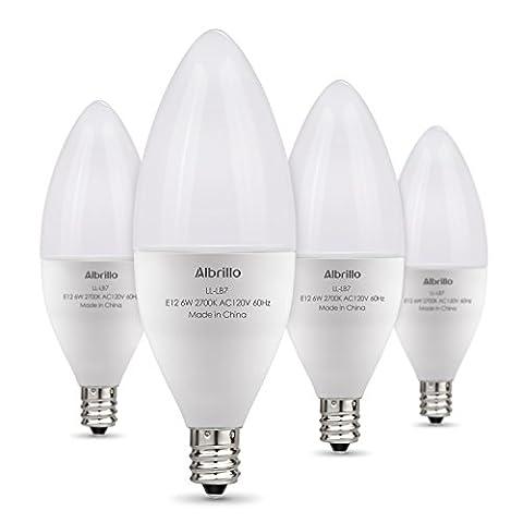 Albrillo E12 LED Bulb Candelabra Light Bulbs 6W, 60 Watt Equivalent, Warm White 2700K, 4 Pack - Candelabra Compact