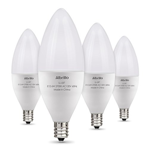 Albrillo E12 LED Bulb Candelabra Light Bulbs 6W, 60 Watt Equivalent, Warm White 2700K Chandelier Bulbs, Decorative Candle Base, Non-Dimmable, pack of 4