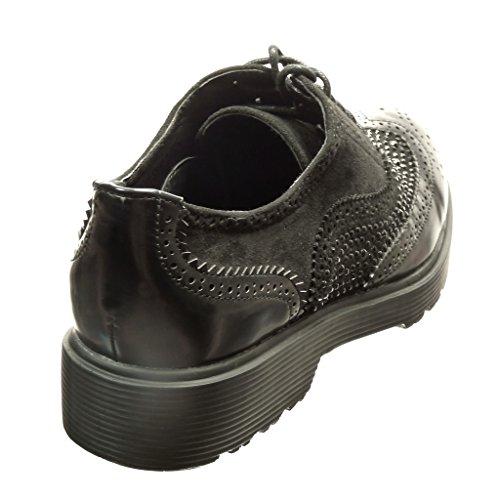 Angkorly - Chaussure Mode Richelieu Derbies bi-matière femme strass diamant perforée Talon bloc 3 CM - Noir