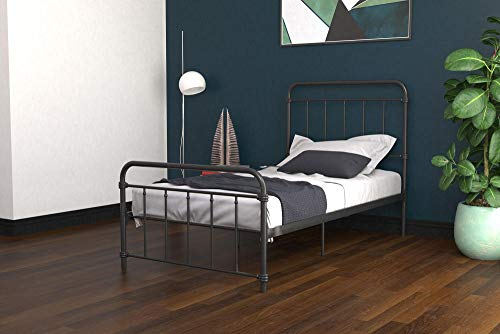 (DHP Winston Metal Bed Frame, Multifunctional Piece with Adjustable Heights for Under Bed Storage, Black - Twin)