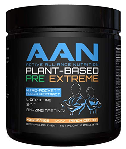 AAN Plant-Based Pre-Workout Extreme - 40 Servings (Peach Iced Tea) (Vegan Iced Coffee)