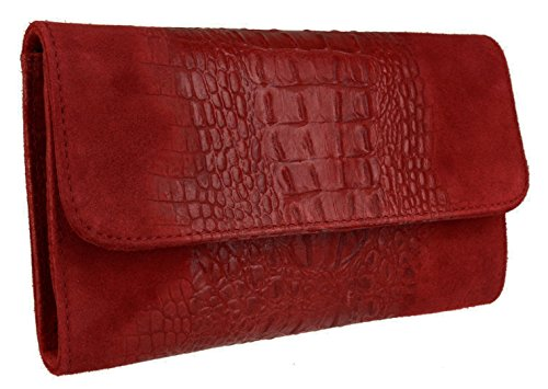 HandBags Girly Leather Girly Clutch Bag Burgundy Suede Italian Croc HandBags wwH7rBqxE