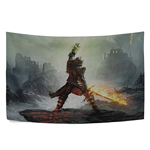 MAXM Dragon Age Inquisition Warrior Dragon Age Armor Sword Wall Hanging Tapestry Bedroom Living Room Beach Doorway Curtain Christmas Thanksgiving Day Decoration 60 X 40 Inch