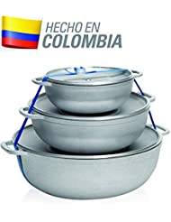 IMUSA USA R200-CALDERO22C Traditional Colombian Natural 3-Piece Caldero Set, 18 by 24 by 28cm, Silver