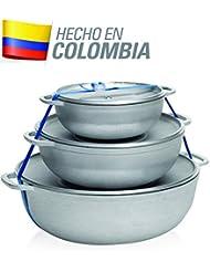 IMUSA USA R200-CALDERO22C Traditional Colombian Natural Caldero Set 3-Piece (1.6/3.2/4.6) Quart, Silver (Dutch Oven Set)