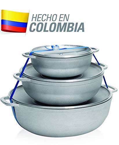 IMUSA USA R200-CALDERO22C Traditional Colombian Natural Caldero Set 3-Piece (1.6/3.2/4.6) Quart, Silver (Dutch Oven Set)