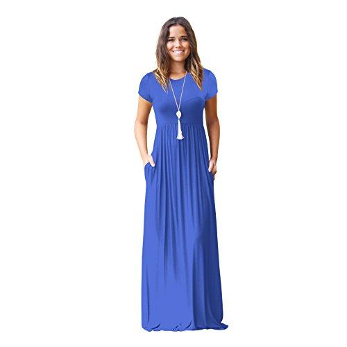 Maxi Abiti Blue Donna Lunghi Casual Igspfbjn Blue color Corta Manica Pianura S Size gqxd55w6S