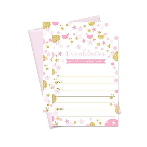 Pink and Gold Invitation and Envelopes - Pack of 20