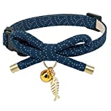 PetSoKoo Bowtie Cat Collar with Bell. Stylish Bowknot with Fish Bone Pendant. Safety Breakaway - Light Weight - Soft - Durable. (Small (6-9.5 Inches - 16-24cm) - Navy Blue)