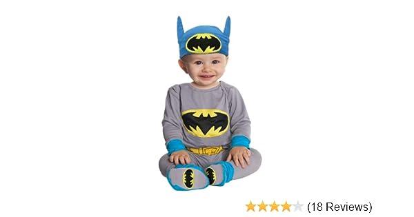 Warner Bros DC Comics Batman Baby Boys Fancy Dress Costume Coveralls with Footies /& Cape Set Black 0-3 Months