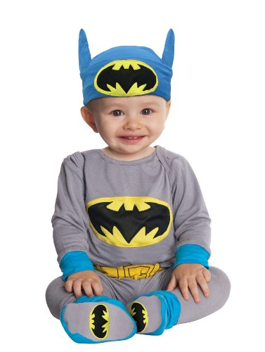 DC Comics Gray Batman Onesie And Headpiece, Gray, Newborn - Baby Sibling Halloween Costumes