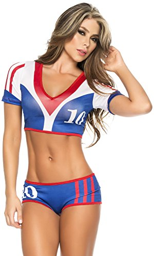 Espiral Lingerie Women's Vive La France Sexy 2 Piece World Cup Inspired Costume, Blue/White/Red, X-Large (Yandy.com Costume)
