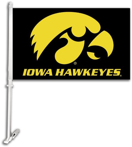 - NCAA Iowa Hawkeyes Car Flag Hawk Logo with Free Wall Bracket