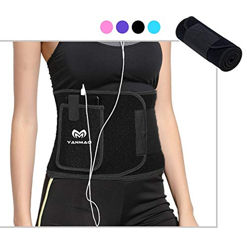 Waist Trimmer for Women and Men Sport Girdle Sweat Belt with Phone Pocket Waist Trainer Slimming Body Shaper Belt Slim Body Sweat Wrap for Stomach and Back Lumbar Supportblack-S ()