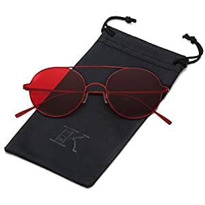 LKEYE Ultra-Light-Thin Sunglasses Unisex Round Style Small Memory Metal Frame LK1711 Red Frame Red Lens