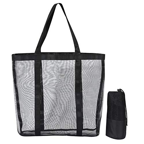 Mesh Beach Bag - Durable Tote Bag- Simply lightweight for Shopping Groceries Sports Gym Swimming Pool Travel Tote Bag Black