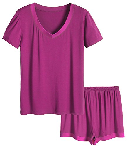 Women's Bamboo V-neck Sleepwear Short Sleeve Pajama Set