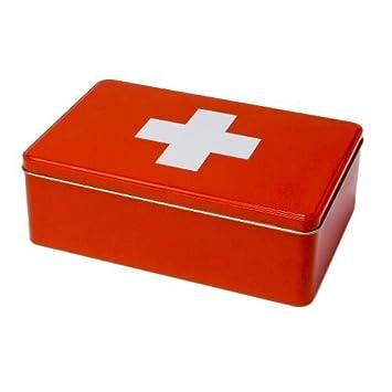 Erste-Hilfe-Box (leer), Metall, rot: Amazon.de: Küche & Haushalt