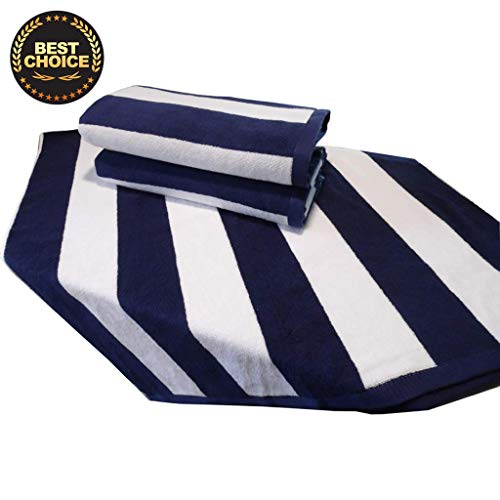 4 Pack Navy Blue Cabana Stripe Large Bath Towels Set, 100% Turkish Cotton Towels for Bath Beach Pool Gym Hotel Spa Chair Lounge Cover, Soft and Absorbent (Oversized Large 40 by 70 inches) (Set of 4) (Beach Lounge Cabana)