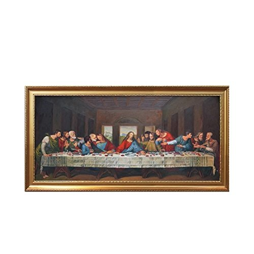 Da Vince The Last Supper Family Dinner Wall Art Deco Hand Painted Oil Painting on Canvas Large Size (40x90cm)