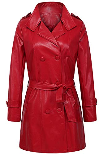 chouyatou Women's Elegant Lapel Collar Slim Double Breasted Faux Leather Trench Coat Belt (XX-Large, Red)