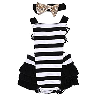 Newborn Kids Baby Girls Clothes Lace Jumpsuit Romper Playsuit + Headband Outfits