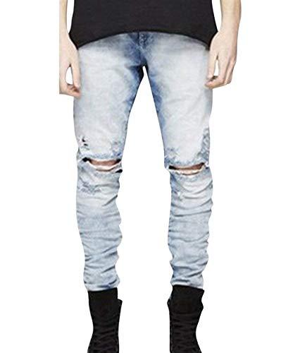 Ufig Holes Pantaloni Semplice Jeans Pocket Ginocchio Distrutto Stile Bianca Denim Retro Fit Casual Da Uomo Slim Classico Pants 6gX6r