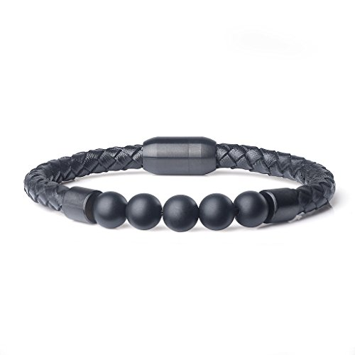 (AmorWing Genuine Matte Onyx Magnetic Clasp Leather Mala Prayer Stones Bracelet)
