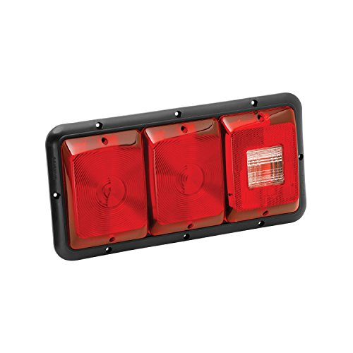 Bargman 34-84-009 Tail Light (Horizontal Mount Triple Red with Stop/Tail/Turn & Backup - Black (Bargman Tail Light Lens)