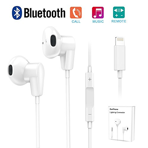 Lightning Earphones,With Microphone Earbuds Stereo Headphones and Noise Isolating headset Made for iPhone 7/7 Plus iPhone8/8Plus iPhone X (Bluetooth Connectivity) Earphones,Support all iOS system (Noise Stereo Isolating Headset)