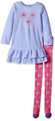 Gerber Toddler Girls Fleece Dress With Tights, flower heart, - Ruffle Detail Dress Knit