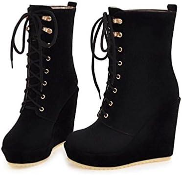 CYMIU Frauen Damen Super High Heel Kurze Stiefel Peeling Keil Vor Schnüren Wasserdichte Plattform Große Größe 40 43 Schuhe