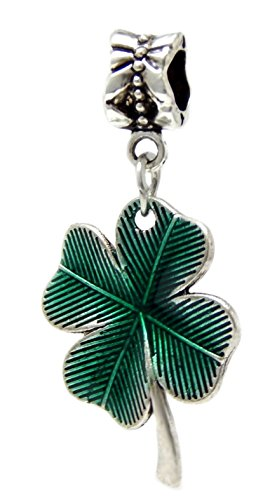 J&M Dangle Enamel Clover Leaf Charm Bead for Charms Bracelets