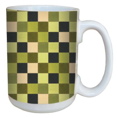 Tree-Free Greetings 79295 Green Quilt by Debbie Mumm Ceramic Mug with Full-Sized Handle, 15-Ounce