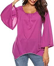 FarJing Women Long Sleeve O-Neck Irregular Casual Loose Top Shirt Blouse