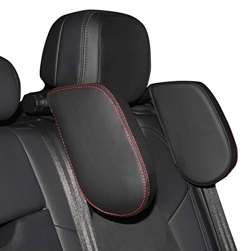 (Aukee Car Seat Pillow Headrest Neck Support Travel Sleeping Cushion for Kids Adults Black)