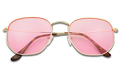 SunglassUP - Colorful Classic Vintage Round Flat Lens Lennon Style Sunglasses (Gold Frame   Pink, - Glasses Frames Pink Styles