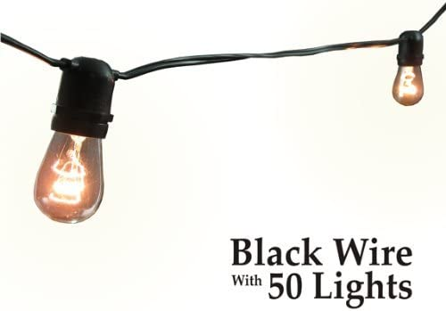 Commercial Grade Party Lights 50 Light Black Wire