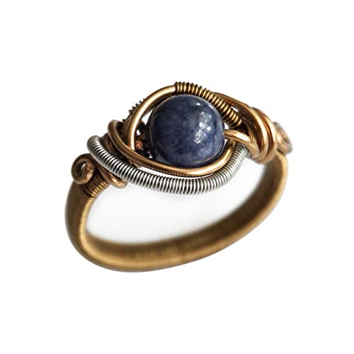 Elegant Natural Lapis Twisted Wire Band Ring 925 Sterling Silver Gifts for Her Womens Rings Lapis Rings September Birthstone Ring