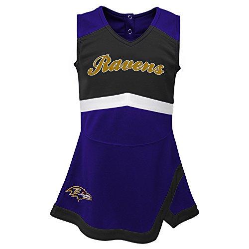 Outerstuff NFL NFL Baltimore Ravens Kids & Youth Girls Cheer Captain Jumper Dress Ravens Purple, Kids Large(6X)
